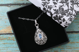 Sterling Silver Memorial Teardrop Urn Pendant with Birthstone - Cremation Jewelry - Ash Necklace - Pet Memorial - Vial Necklace - December