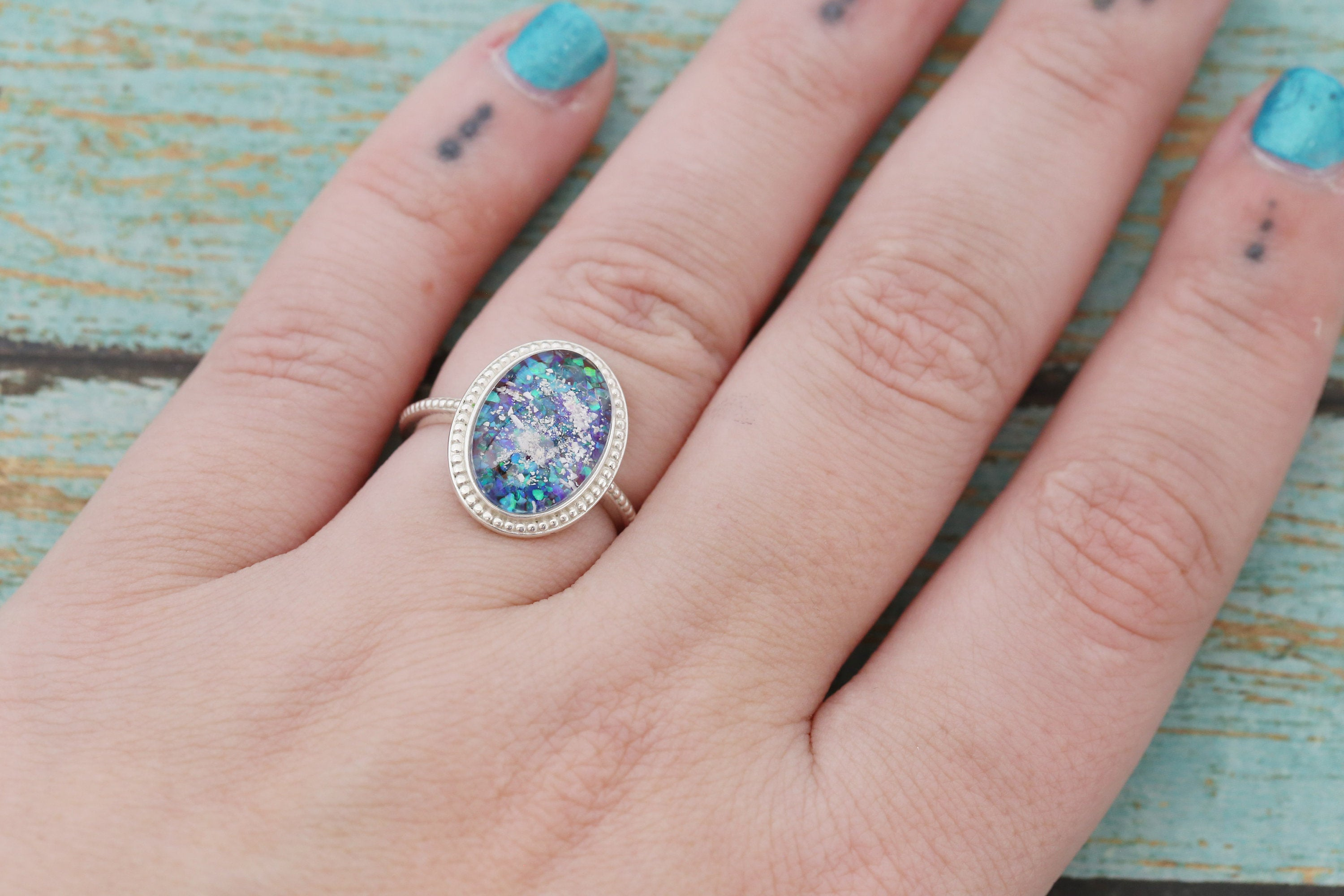 10x14mm Oval Opal Cremation Ring - Sterling Silver Beaded Ring - Cremation Jewelry - Ash Ring - Ash Jewelry - Urn Ring - Urn - Pet Loss