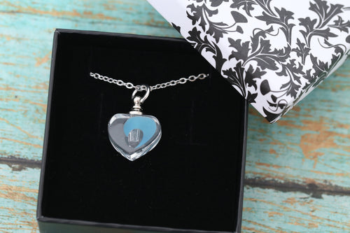 Stainless and Resin Blue Glow in the Dark Heart Urn Pendant - UV Reactive - Cremation Jewelry - Ash Necklace - Urn Necklace - Vial Necklace