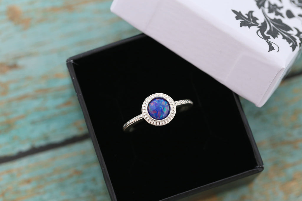 6mm Opal Cremation Ring - Sterling Silver Beaded Ring - Cremation Jewelry - Ash Ring - Ash Jewelry - Urn Ring - Urn Jewelry - 6mm15