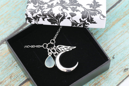 Stainless Memorial Crescent Moon Urn Pendant - Cremation Jewelry - Ash Necklace- Urn Necklace- Pet Memorial- Vial Necklace - Aqua Chalcedony