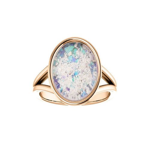 10x14mm Opal Cremation Ring - 14k Rose Gold Cremation Ring - Cremation Jewelry - Ash Ring - Ash Jewelry - Urn Ring - Opal Ring - Pet Loss