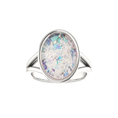 10x14mm Opal Cremation Ring - 14k White Gold Cremation Ring - Cremation Jewelry - Ash Ring - Ash Jewelry - Urn Ring - Opal Ring - Pet Loss