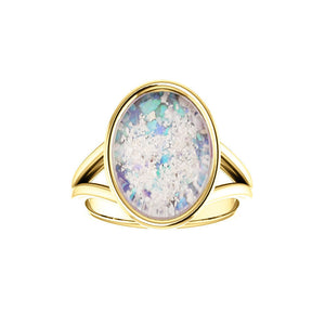 10x14mm Opal Cremation Ring - 14k Yellow Gold Cremation Ring - Cremation Jewelry - Ash Ring - Ash Jewelry - Urn Ring - Opal Ring
