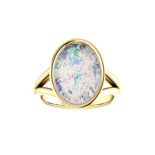 10x14mm Opal Cremation Ring - 14k Yellow Gold Cremation Ring - Cremation Jewelry - Ash Ring - Ash Jewelry - Urn Ring - Opal Ring - Pet Loss
