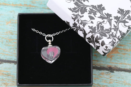 Stainless and Resin Pink Glow in the Dark Heart Urn Pendant - UV Reactive - Cremation Jewelry - Ash Necklace - Urn Necklace - Vial Necklace