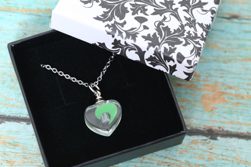 Stainless and Resin Green Glow in the Dark Heart Urn Pendant - UV Reactive - Cremation Jewelry - Ash Necklace - Urn Necklace - Vial Necklace