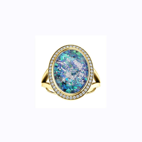 10x14mm Oval Opal Cremation Ring - 10k Yellow Gold and Diamond Ring - Cremation Jewelry - Ash Ring - Ash Jewelry - Urn Ring - Pet Loss