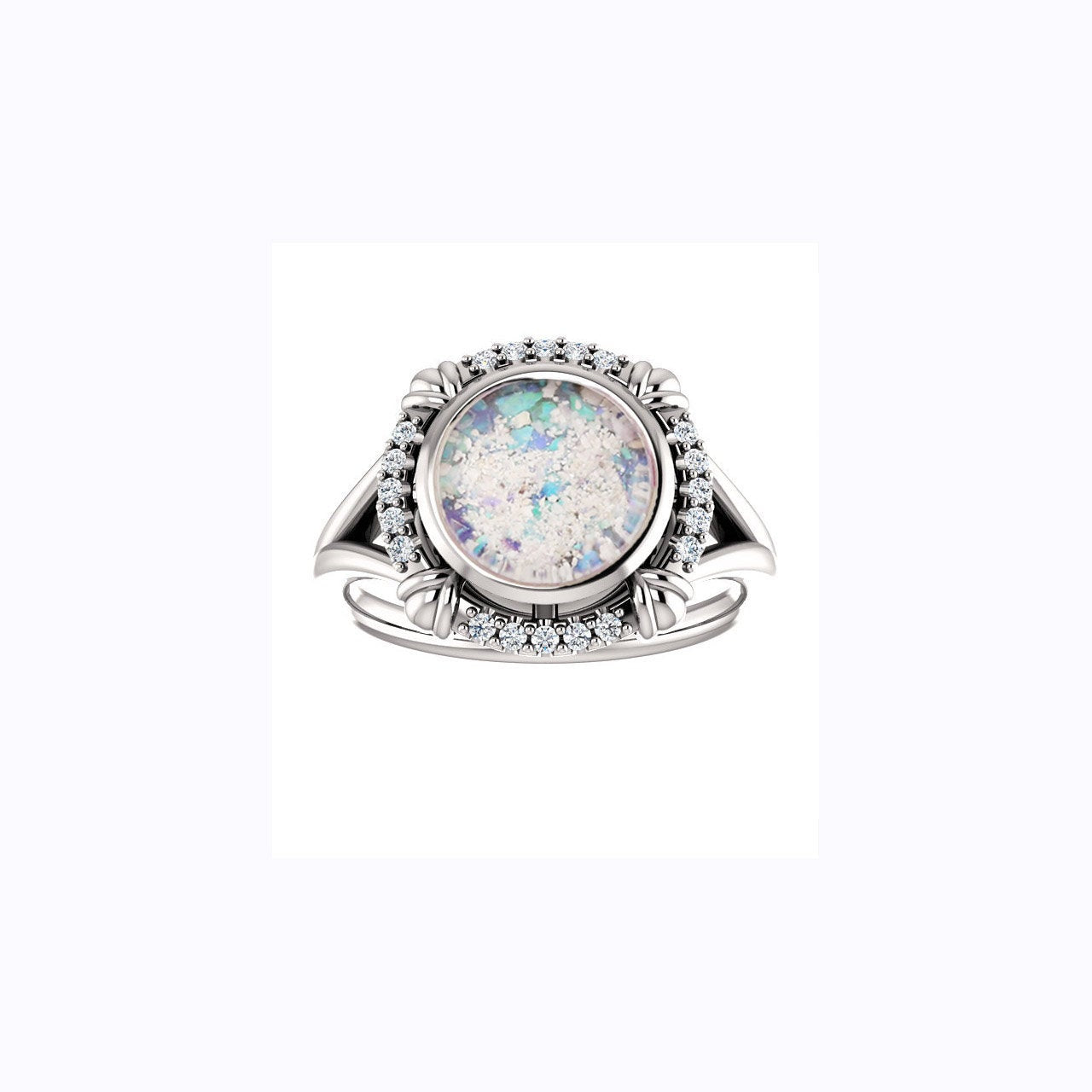 8mm Round Opal Cremation Ring - 10k White Gold and Diamond Ring - Cremation Jewelry - Ash Ring - Ash Jewelry - Urn Ring - Opal Ring