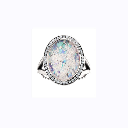 10x14mm Oval Opal Cremation Ring - 10k White Gold and Diamond Ring - Cremation Jewelry - Ash Ring - Ash Jewelry - Urn Ring - Pet Loss