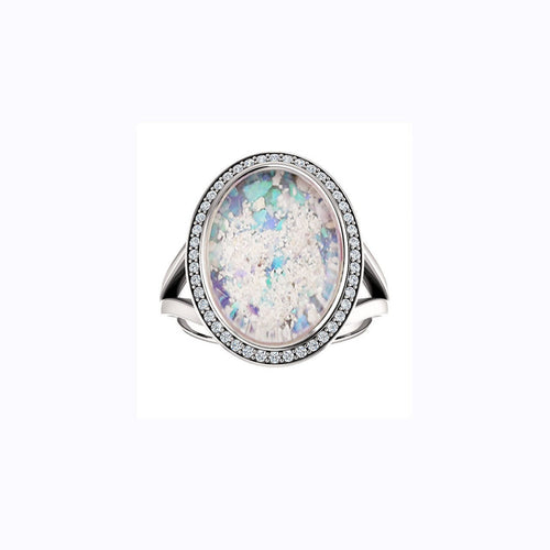 10x14mm Oval Opal Cremation Ring - Sterling Silver and Diamond Ring - Cremation Jewelry - Ash Ring - Ash Jewelry - Urn Ring - Pet Loss
