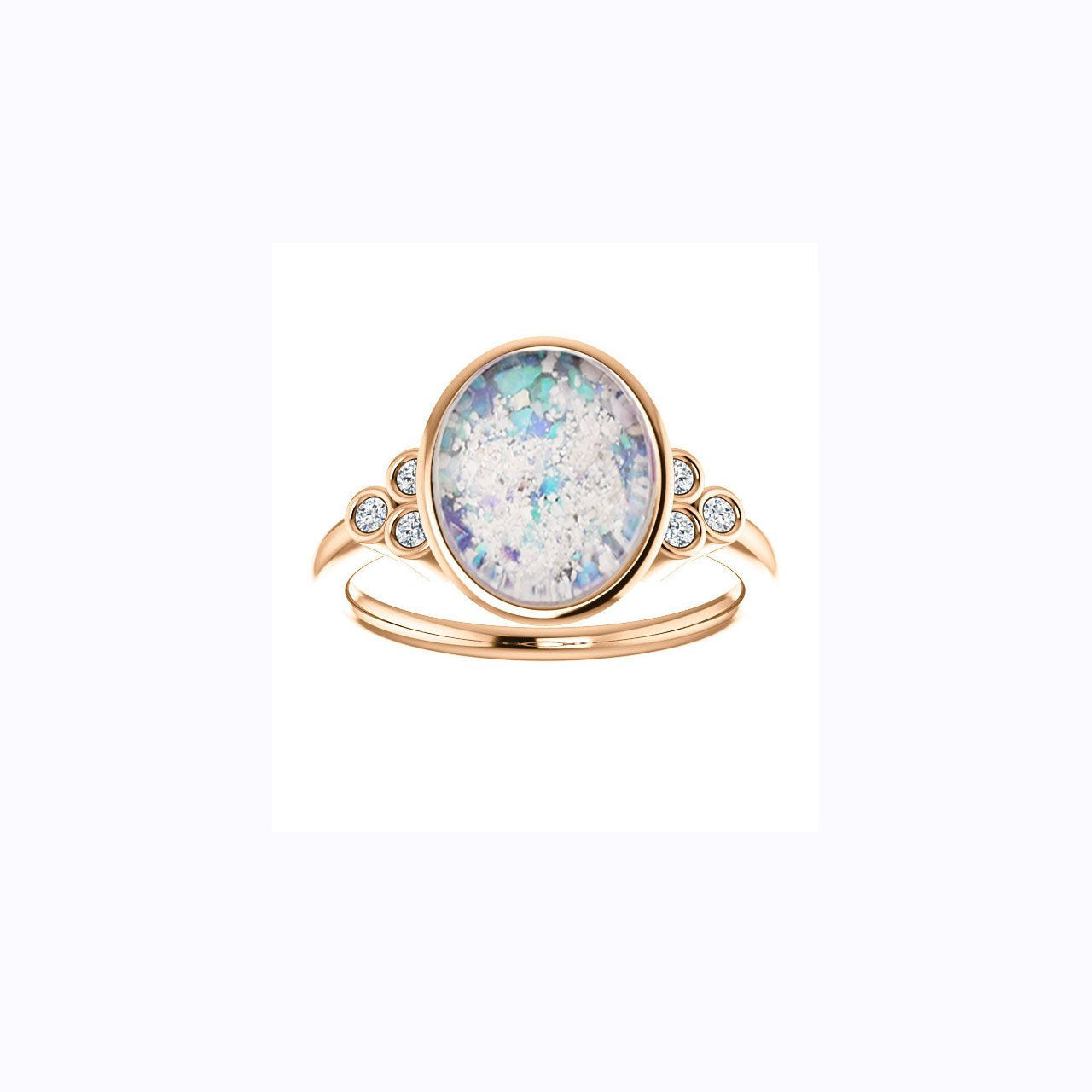 8x10mm Oval Opal Cremation Ring - 10k Rose Gold and Diamond Ring - Cremation Jewelry - Ash Ring - Ash Jewelry - Urn Ring - Pet Loss