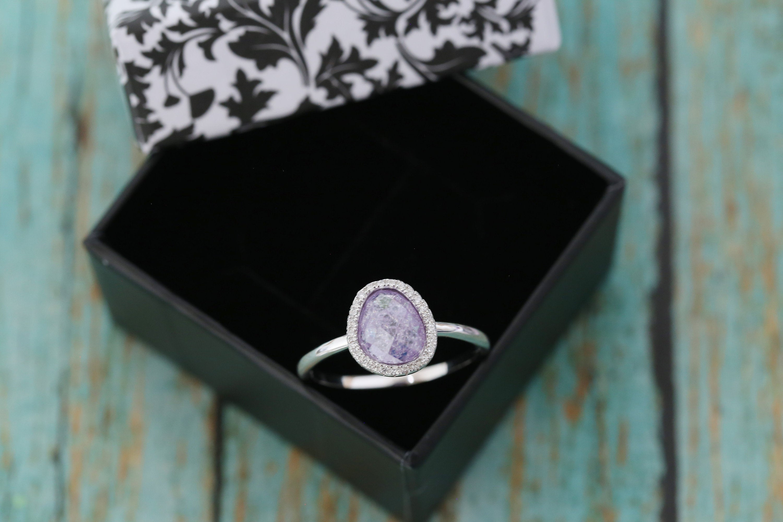 Sterling Silver Freeform Lavender Galaxy Cremation Ring