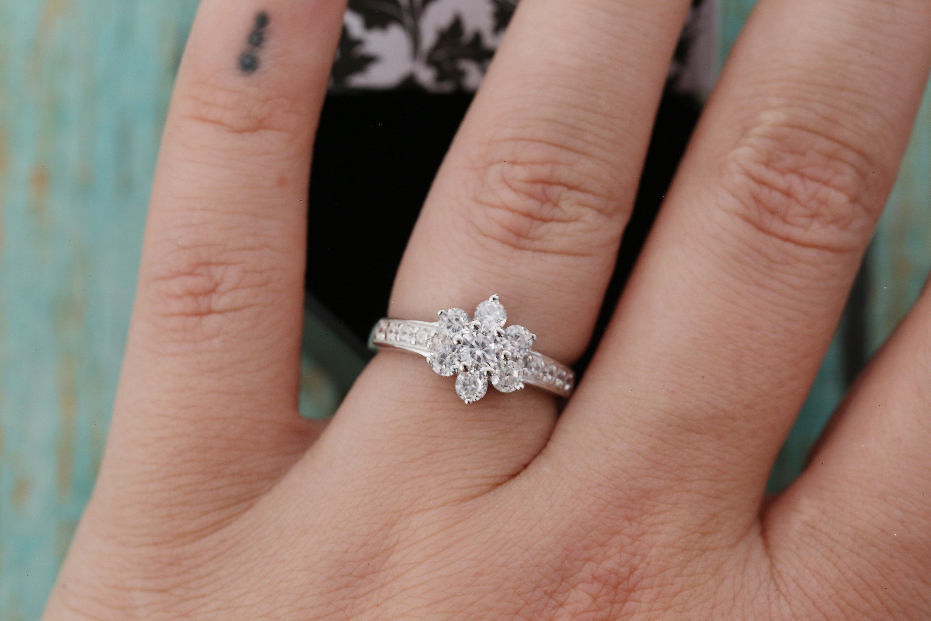 Cremation Ring - Sterling and CZ Flower Ring - Cremation Jewelry - Ash Ring - Ash Jewelry - Urn Ring - Light Pink - Pet Loss