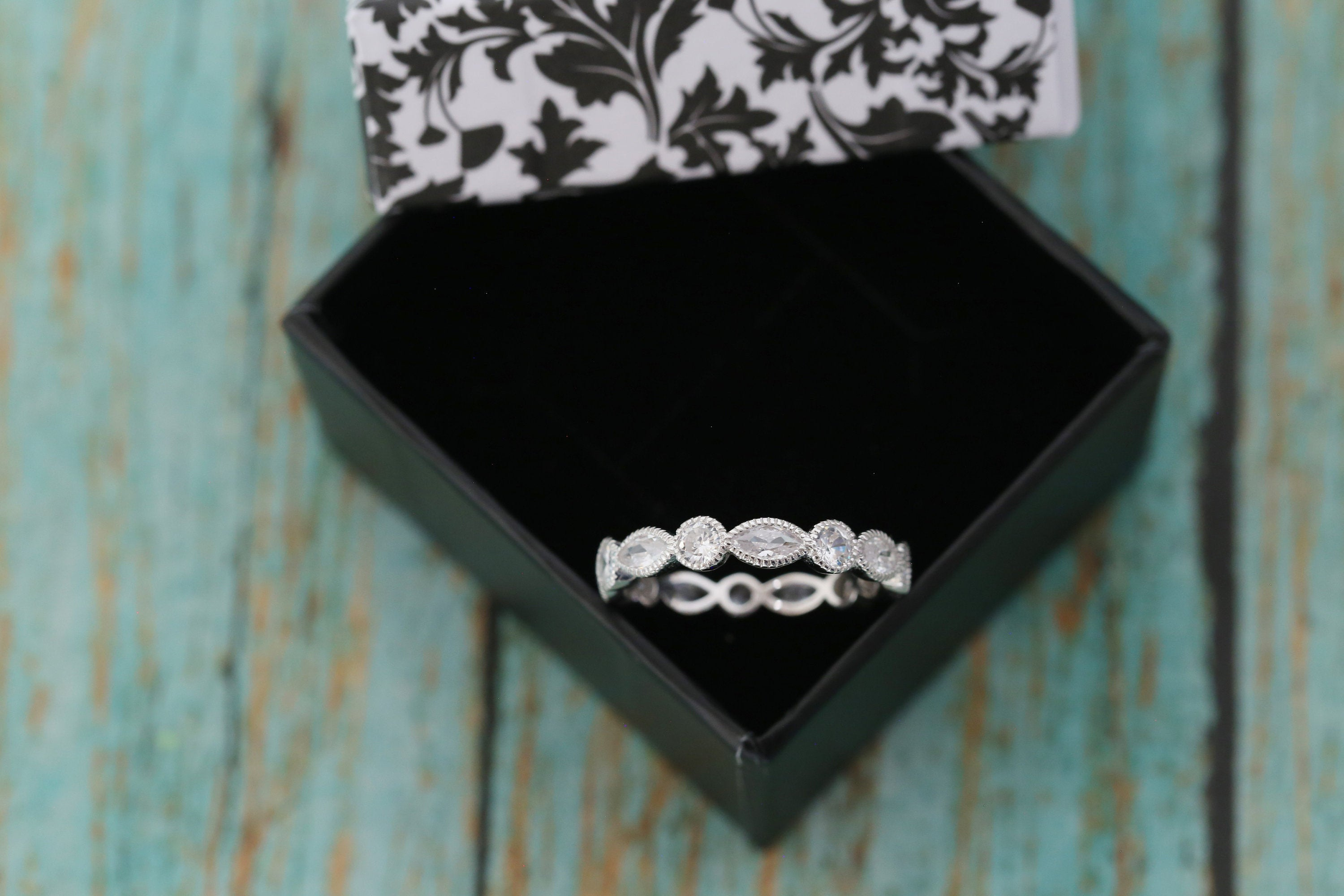Cremation Ring - Sterling Silver Marquise and Round Eternity Band Ring - Cremation Jewelry - Ash Ring - Ash Jewelry - Urn Ring - Urn Jewelry