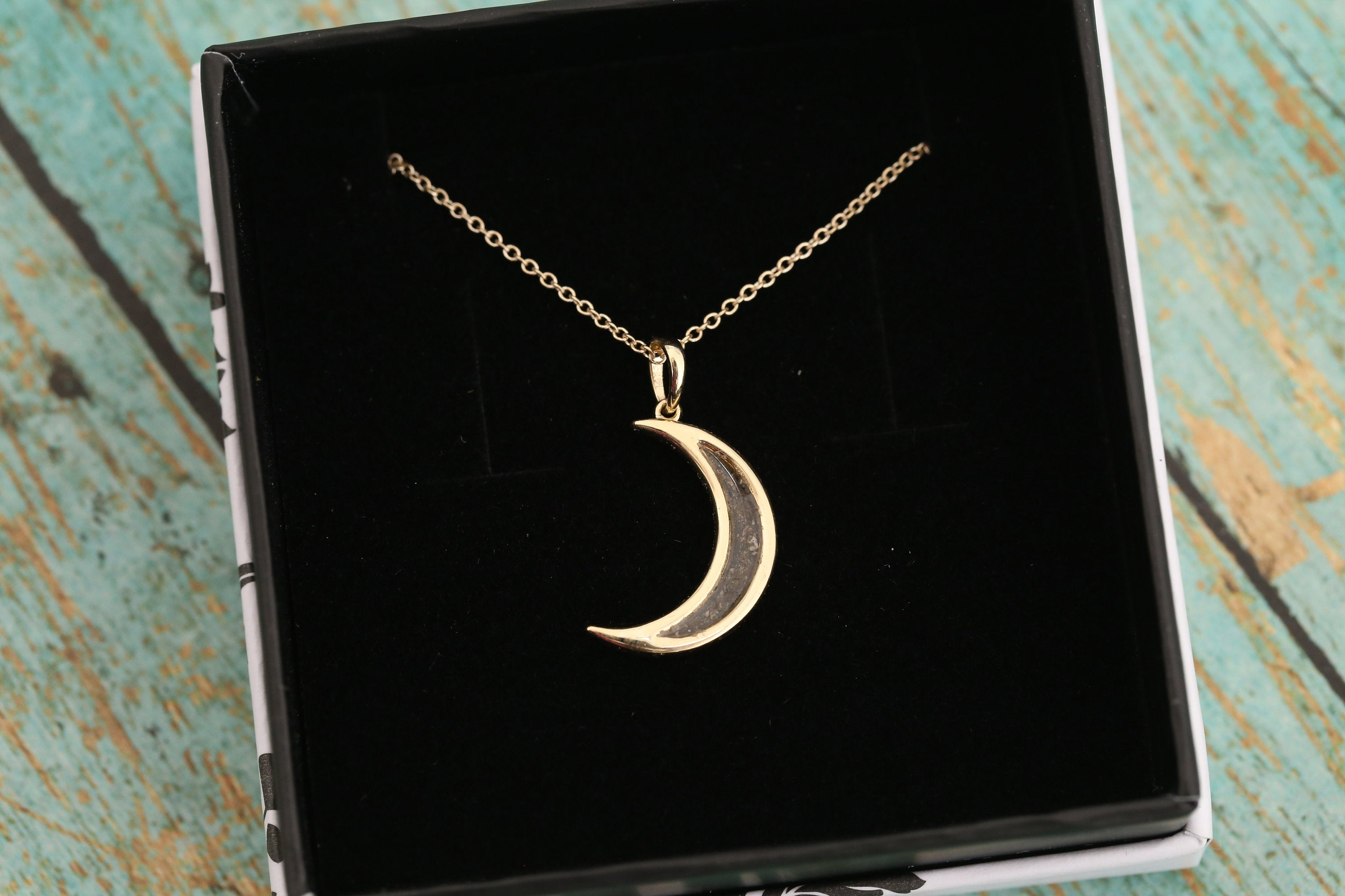 14k Yellow Gold Cremation Moon Pendant - Crescent Moon - Cremation Jewelry - Ash Necklace - Ash Jewelry - Urn Necklace - Urn - Pet Loss