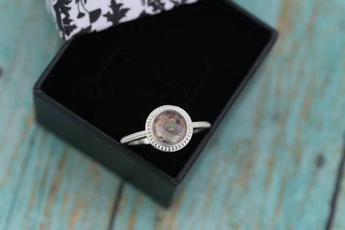 8mm Opal Cremation Ring - Sterling Silver Beaded Ring - Cremation Jewelry - Ash Ring - Ash Jewelry - Urn Ring - Urn Jewelry - Pet Loss