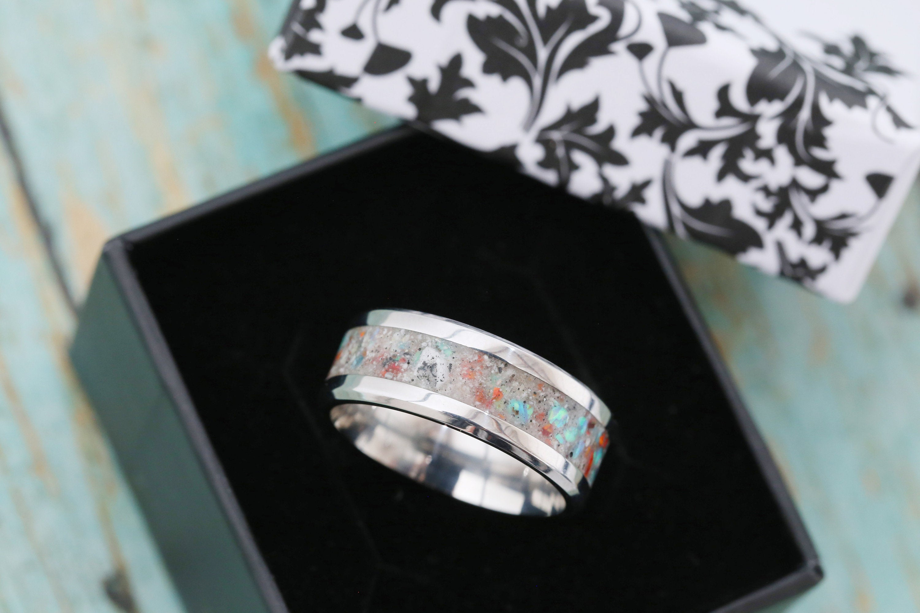 Cremation Band Ring - Opal Cremation Ring - Cremation Jewelry - Ash Ring - Ash Jewelry - Urn Ring - Urn Jewelry - Pet Loss