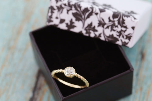 "10k Gold Cremation Ring - Mini ""Caroline"" Rope Ring - Rose Cut Moissanite - Cremation Jewelry - Ash Ring - Ash Jewelry - Pet Loss"
