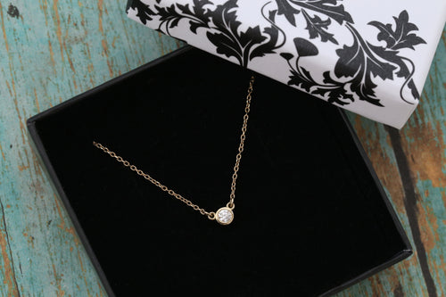 14k Yellow Gold and Diamond Cremation Ash Pendant - Diamond Solitaire - Cremation Jewelry -Ash Necklace -Ash Jewelry - Urn Jewelry- Pet Loss