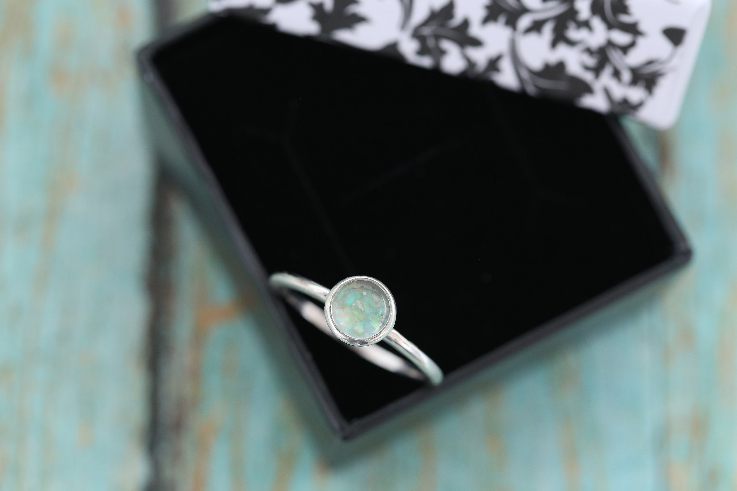 6mm Opal Cremation Ring - Sterling Silver Cremation Ring - Cremation Jewelry - Ash Ring - Ash Jewelry - Urn Ring - Pet Loss - Opal Ring