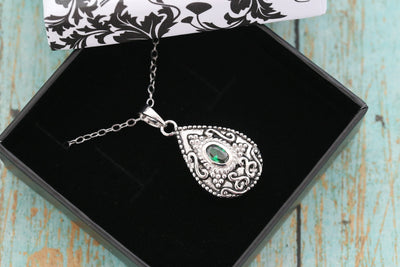 Sterling Silver Memorial Teardrop Urn Pendant with Birthstone - Cremation Jewelry - Ash Necklace - Pet Memorial - Vial Necklace - May