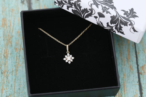 14k Yellow Gold Cremation Pendant - CZ Flower Necklace - Cremation Jewelry - Ash Ring - Ash Jewelry - Urn Necklace -Urn - Pet Loss