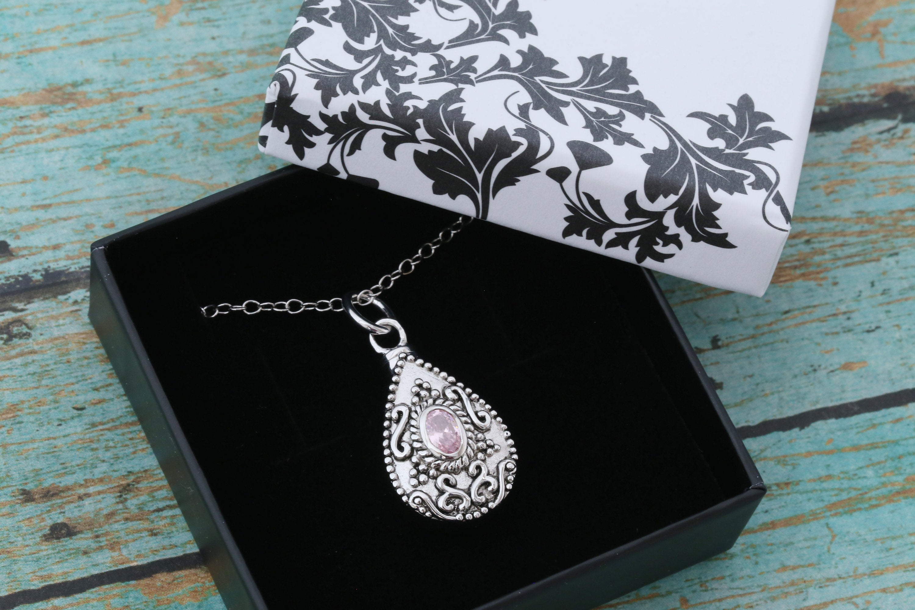 Sterling Silver Memorial Teardrop Urn Pendant with Birthstone - Cremation Jewelry - Ash Necklace - Pet Memorial - Vial Necklace - October