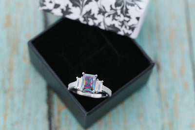 Cremation Ring - Sterling Silver Mystic Topaz Ring - Cremation Jewelry - Ash Ring - Ash Jewelry - Urn Ring - Three Stone Ring - Pet Loss