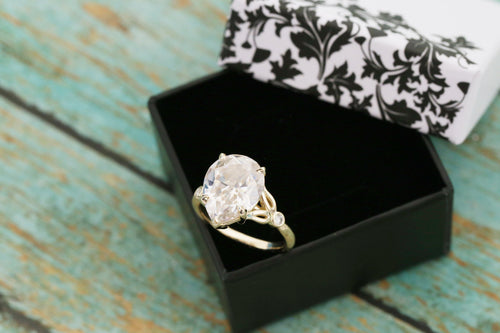 Pear Cut Moissanite Cremation Ring - 14k Yellow Gold Cremation Ring - Floral Cremation Ring - Moissanite Cremation Ring - Elenora