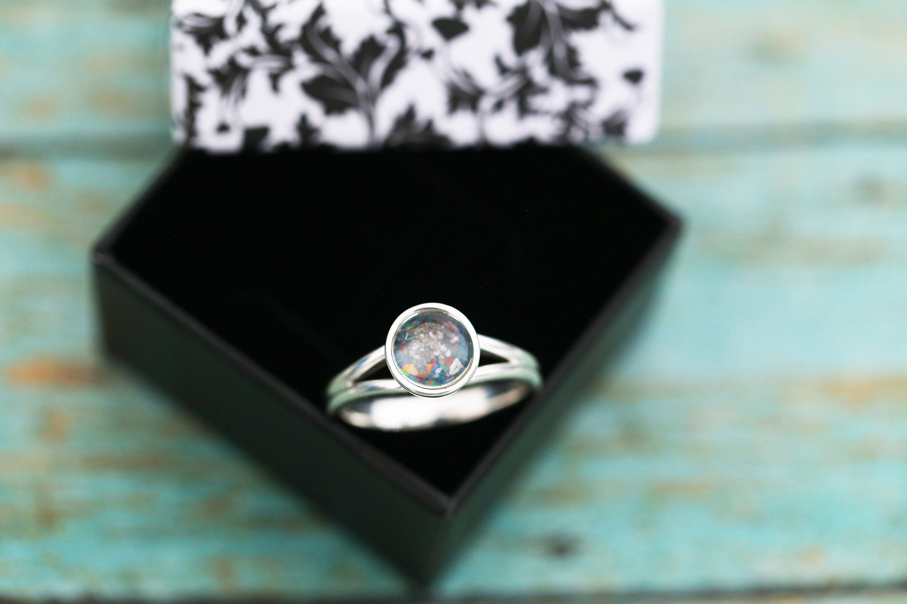 8mm Opal Cremation Ring - 14k White Gold Cremation Ring - Cremation Jewelry - Ash Ring - Ash Jewelry - Urn Ring - Pet Loss