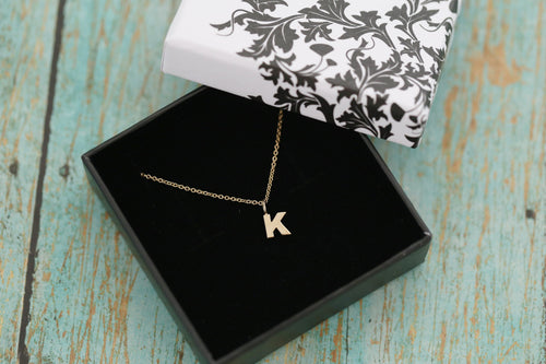 14k Yellow Gold Initial Necklace - Block Letter Necklace - Monogram Initial - Gold Letter Necklace- New Baby Gift - Wedding Gift
