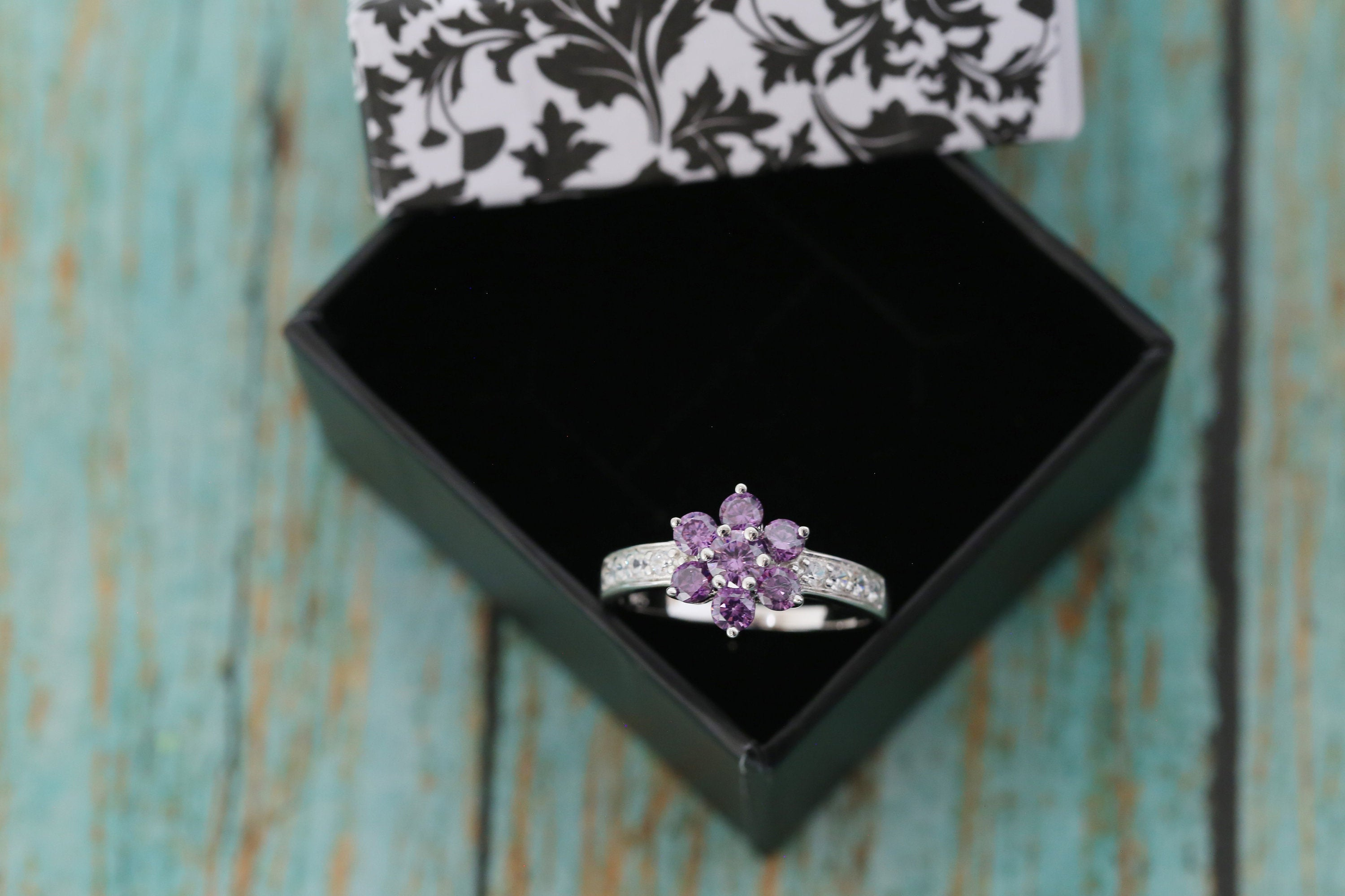 Cremation Ring - Sterling and CZ Flower Ring - Cremation Jewelry - Ash Ring - Ash Jewelry - Urn Ring - Purple - Pet Loss