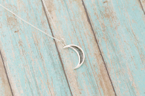 Sterling Silver Cremation Moon Pendant - Crescent Moon - Cremation Jewelry - Ash Necklace - Ash Jewelry - Urn Necklace - Urn - Pet Loss
