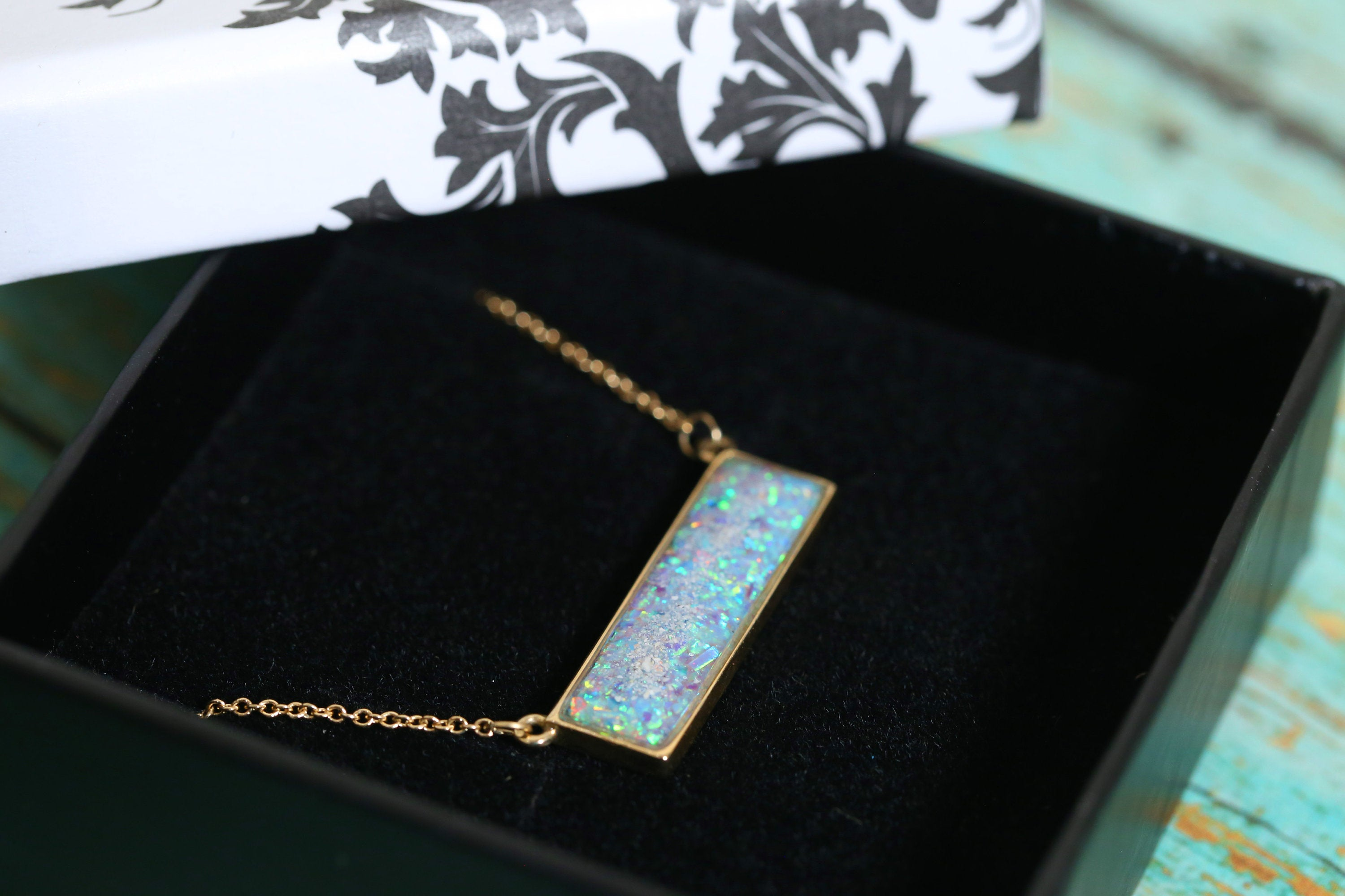 14k Yellow Gold Bar Cremation Necklace - Opal and Gold Bar Necklace - Cremation Jewelry - Ash Jewelry - Urn Necklace - Pet Loss