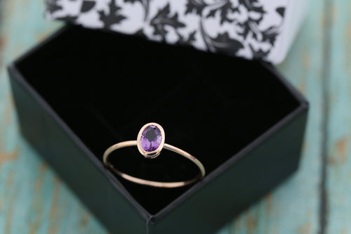 14k Rose Gold and Amethyst Cremation Ring - Thin Gold Stacking Ring - Cremation Jewelry - Ash Ring - Ash Jewelry - Pet Loss - Cremation Ring