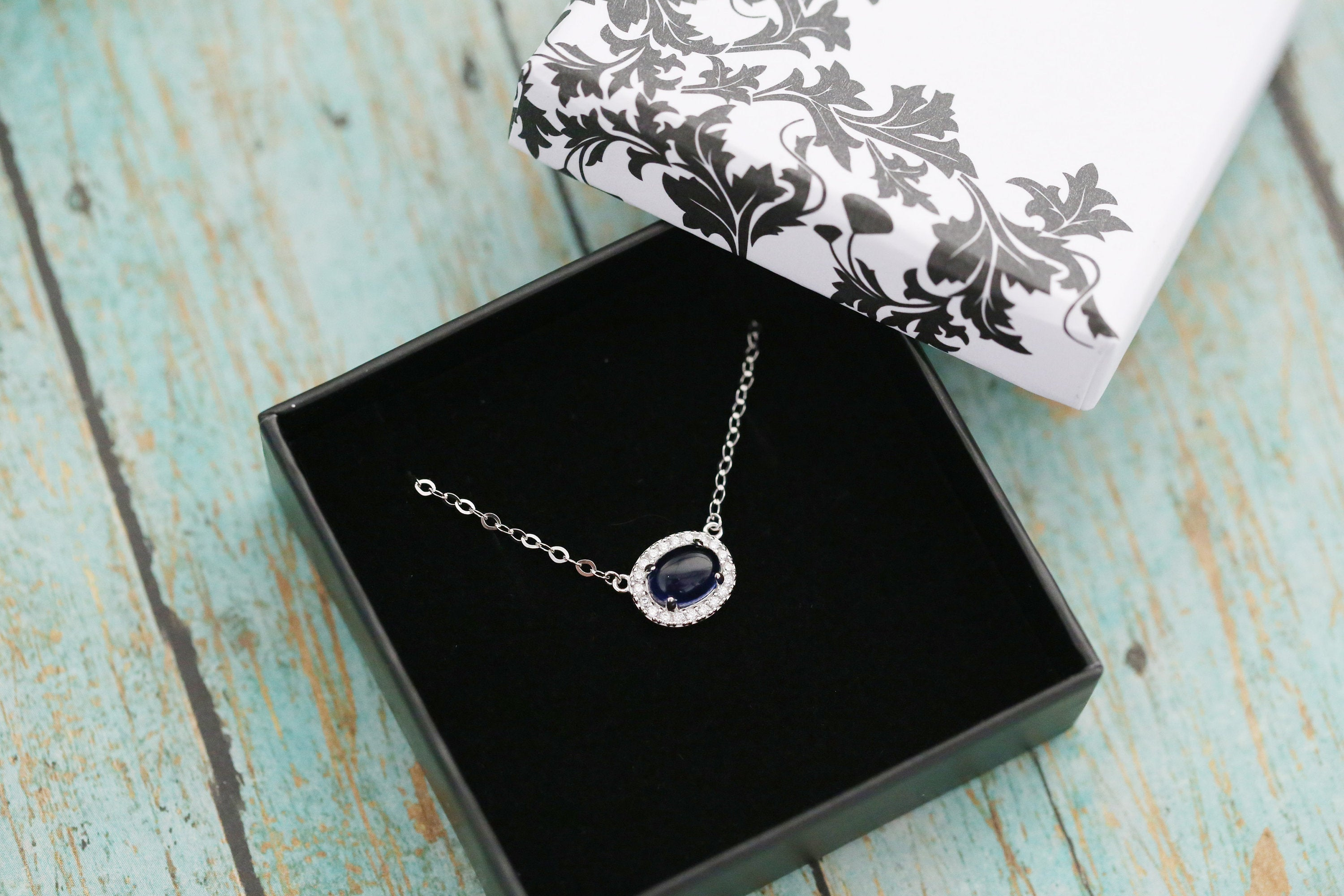 Sapphire Halo Cremation Pendant - Sterling Silver Memorial Pendant for Ashes - Cremation Jewelry - Urn Necklace- Pet Memorial -Ash Necklace