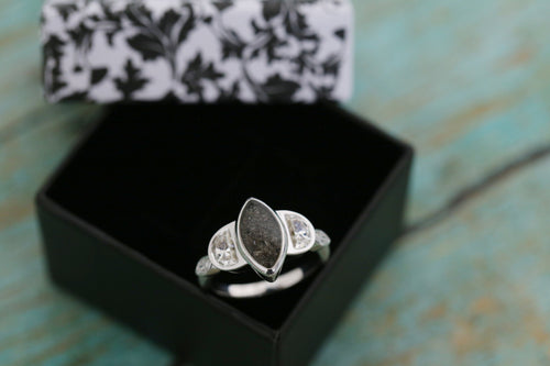 14k White Gold Marquise and Half Moon Cremation Ring - Cremation Jewelry - Ash Ring - Ash Jewelry - Urn Ring - Pet Loss - Cremation Ring