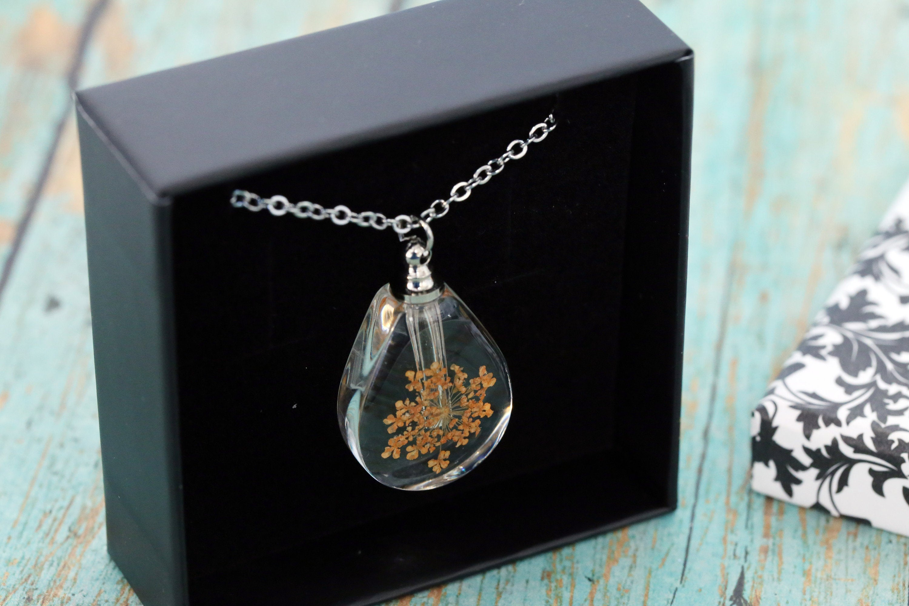 Stainless and Resin Memorial Teardrop Urn Pendant with Orange Dried Flowers - Cremation Jewelry- Ash Necklace - Urn Necklace - Vial Necklace
