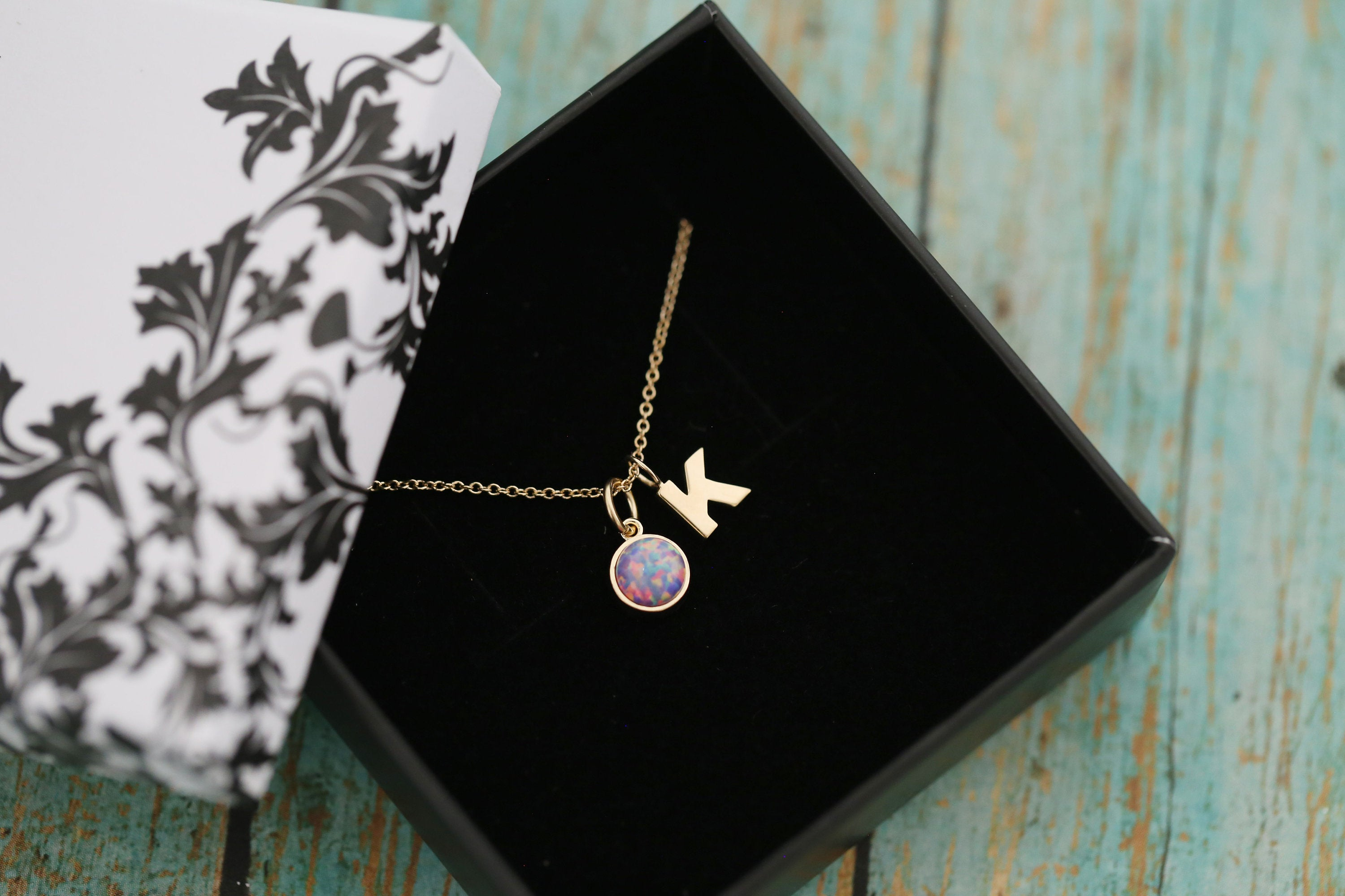 14k Yellow Gold 6mm Opal Cremation Ash Pendant with Initial - Cremation Pendant - Cremation Jewelry - Ash Necklace - Pet Loss - 6mm9