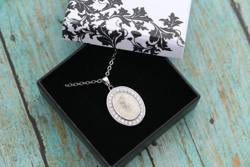 Oval Halo Cremation Pendant - Sterling Silver Memorial Pendant for Ashes - Cremation Jewelry - Urn Necklace - Pet Memorial - Ash Necklace