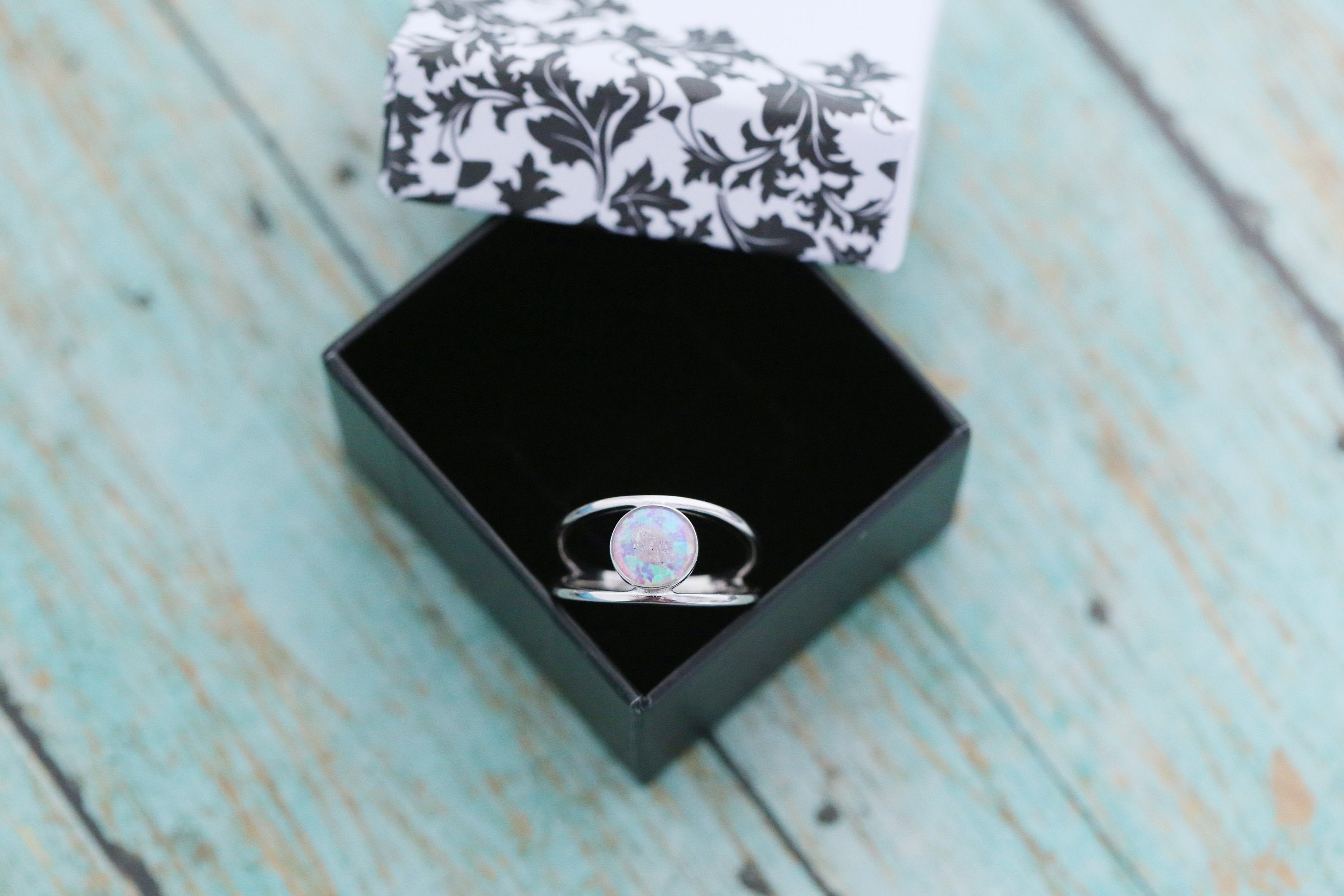 8mm Opal Cremation Ring - Sterling Silver Ash Stone Ring - Cremation Jewelry - Ash Ring - Ash Jewelry - Urn Ring - Urn Jewelry - LifeStone