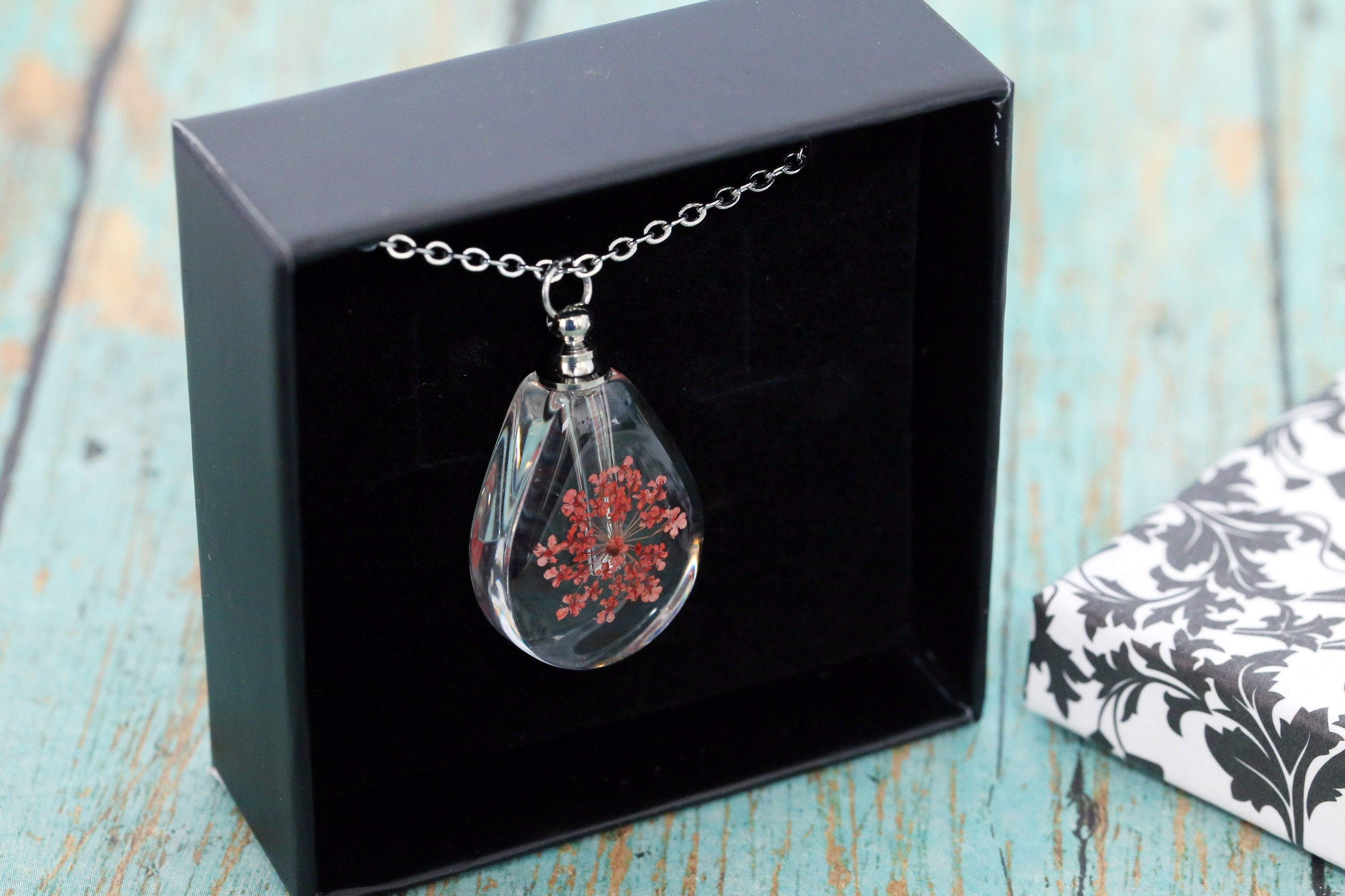 Stainless and Resin Memorial Teardrop Urn Pendant with Red Dried Flowers - Cremation Jewelry- Ash Necklace - Urn Necklace - Vial Necklace