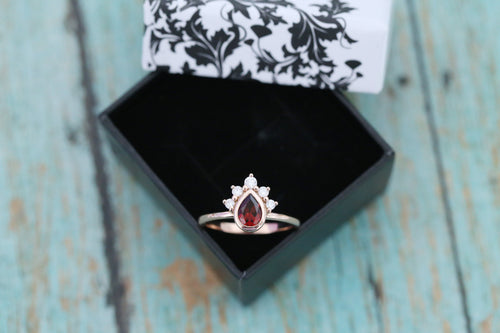 14k Rose Gold 5x7mm Pear Garnet Cremation Ring - Crown Halo Ring - Cremation Jewelry - Ash Ring - Ash Jewelry - Pet Loss - Cremation Ring