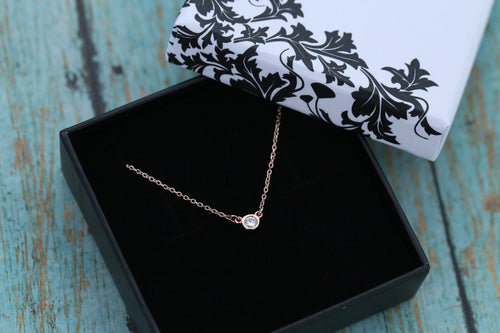 14k Rose Gold and Diamond Cremation Ash Pendant - Diamond Solitaire - Cremation Jewelry -Ash Necklace -Ash Jewelry - Urn Jewelry- Pet Loss