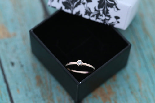 14k Rose Gold and Diamond Cremation Ring - Diamond Stacking Ring - Cremation Jewelry - Ash Ring - Ash Jewelry - Pet Loss - Cremation Ring