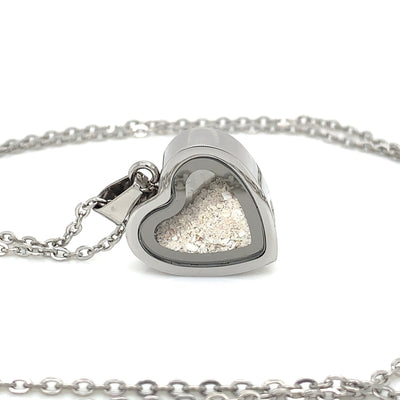 Stainless Mini Memorial Glass Heart Locket - Cremation Jewelry - Ash Necklace - Urn Necklace - Pet Memorial - Vial Necklace - Vial for Hair