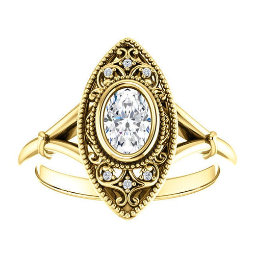 10k 4x6mm Yellow Gold Vintage Oval Moissanite Cremation Ring - Cremation Ring - Cremation Jewelry - Ash Jewelry - Urn Ring - Pet Loss