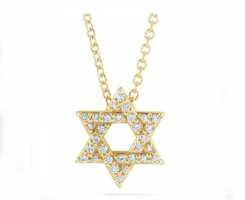 14k Yellow Gold and Diamond Star of David Pendant - Hanukkah Gift - Chanukah Gift - Judaism - Judaica - Jewish - Bat Mitzvah - Bar Mitzvah