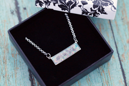 Sterling Silver Bar Cremation Necklace - Opal and Gold Bar Necklace - Cremation Jewelry - Ash Jewelry - Urn Necklace - Pet Loss